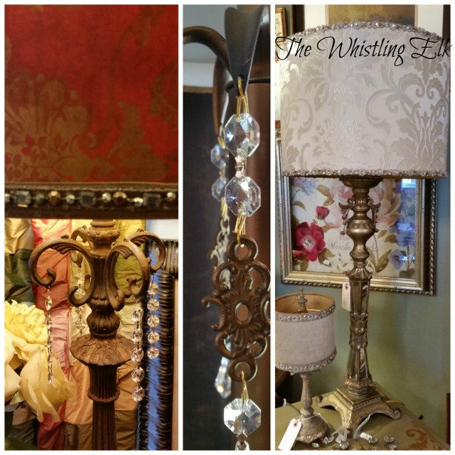 Beautiful Lamps at The Whistling Elk (The red damask shade is opaque and you can see that the light shines up and down)